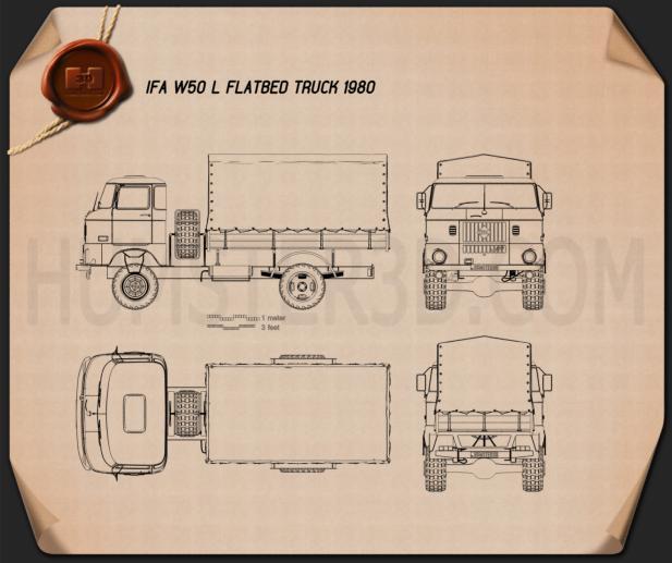 IFA W50 L Camião de plataforma 1980 Imagem Clipart