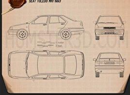 Seat Toledo 1993 car clipart
