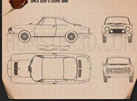 Simca 1200 S coupe 1969 car clipart