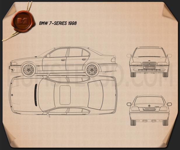 BMW 7 series e38 1998 car clipart