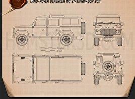 Land Rover Defender 110 Station Wagon 2011 car clipart
