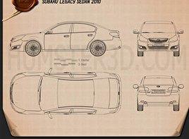 Subaru Legacy (Liberty) sedan 2010 car clipart