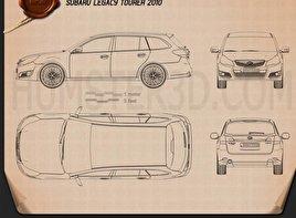 Subaru Legacy tourer 2010 car clipart