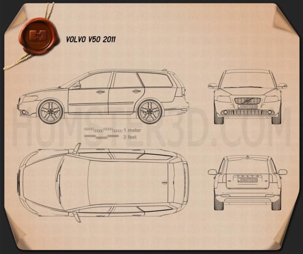 Volvo V50 2011 car clipart
