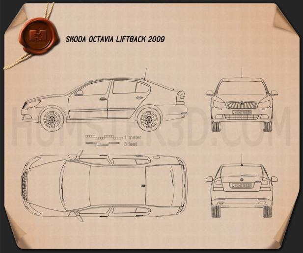 Skoda Octavia 2009 car clipart
