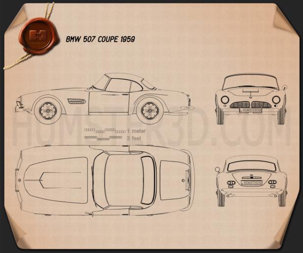 BMW 507 coupe 1959 car clipart