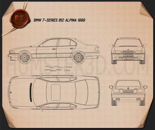 BMW 7 Series B12 Alpina 1999 car clipart