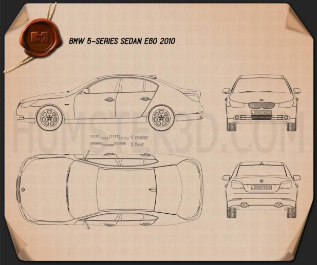BMW 5 Series Sedan E60 2010 car clipart