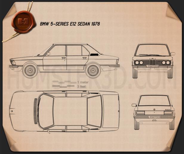 BMW 5 Series sedan (E12) 1978 car clipart