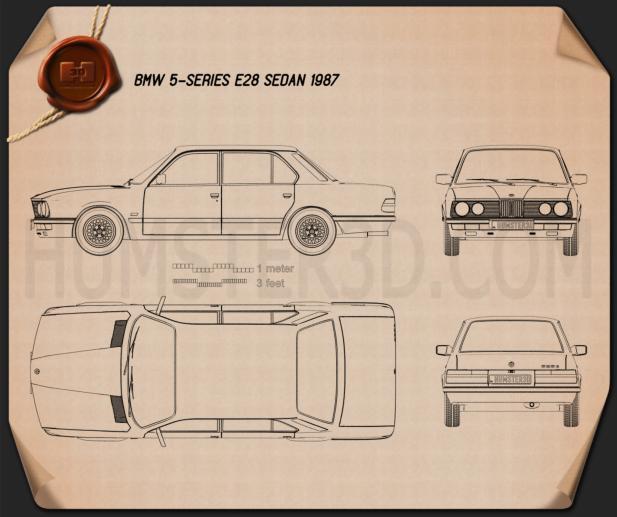 BMW 5 Series sedan (E28) 1987 car clipart