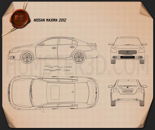 Nissan Maxima 2012 Clipart Image
