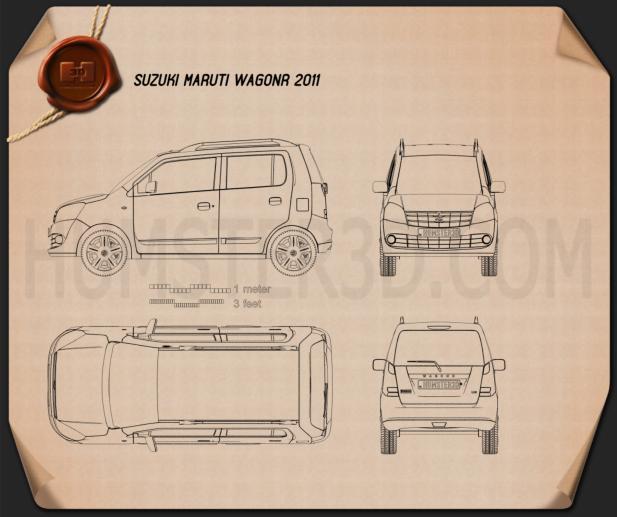 Suzuki (Maruti) Wagon R 2011 Clipart Bild