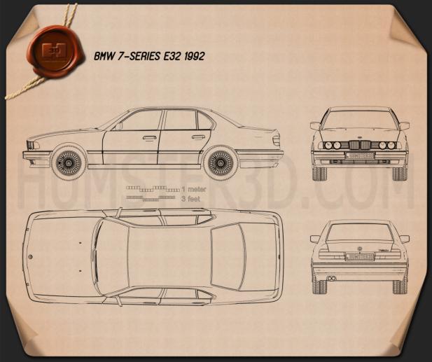 BMW 7 Series (E32) 1992 Clipart Image