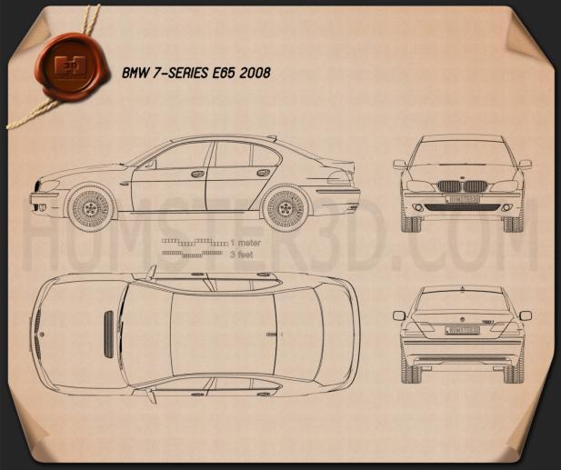 BMW 7 Series (E65) 2008 car clipart