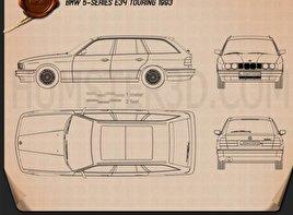 BMW 5 Series touring (E34) 1993 car clipart