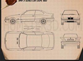 BMW 3 Series (E36) coupe 1994 car clipart