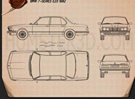 BMW 7 Series (E23) 1982 car clipart