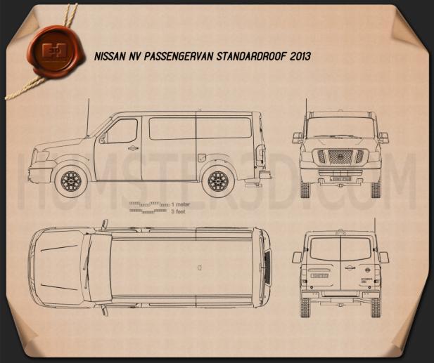Nissan NV Passenger Van Standard Roof 2013 Clipart Image