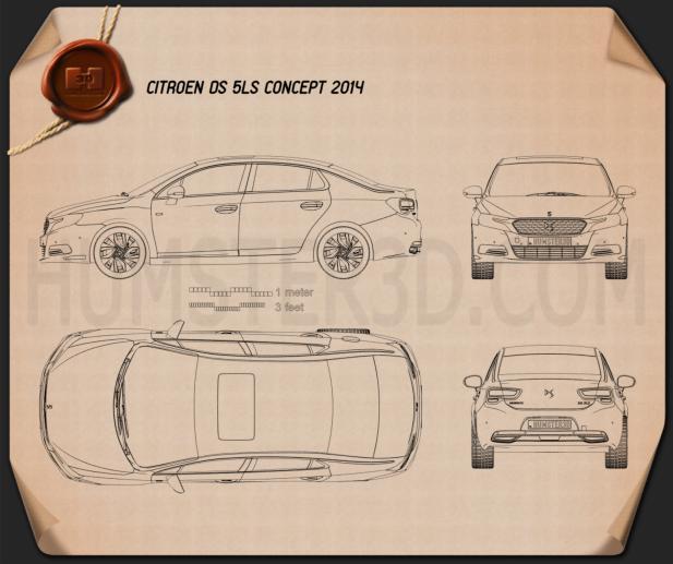 Citroen DS 5LS 2014 car clipart