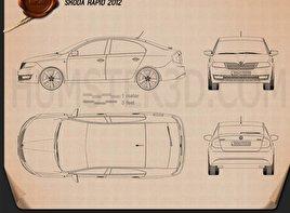 Skoda Rapid 2012 car clipart