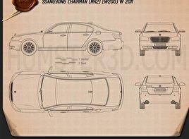 SsangYong Chairman W 2011 car clipart