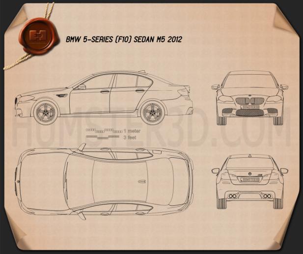 BMW M5 sedan (F10) 2012 car clipart