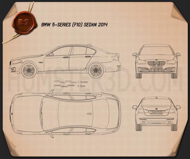 BMW 5 Series (F10) sedan 2014 car clipart