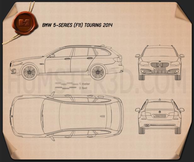 BMW 5 Series (F11) touring 2014 car clipart