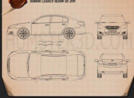 Subaru Legacy sedan US 2011 Clipart