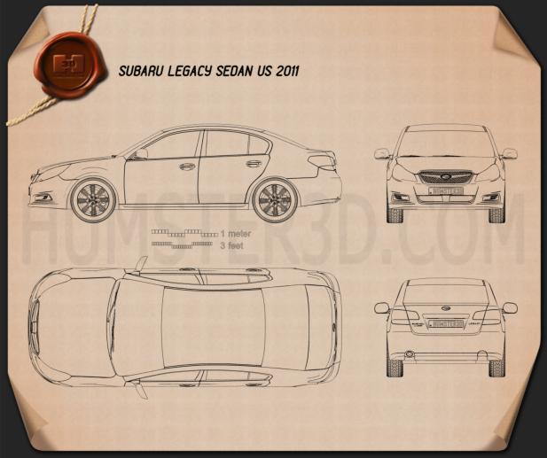 Subaru Legacy sedan US 2011 car clipart