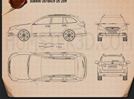 Subaru Outback US 2011 Clipart