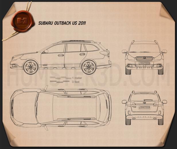 Subaru Outback US 2011 car clipart