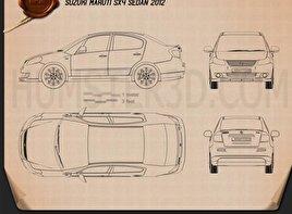 Suzuki (Maruti) SX4 sedan 2012 car clipart