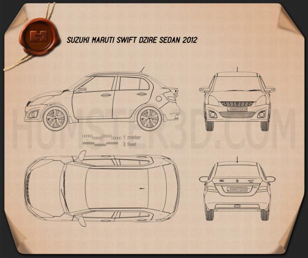 Suzuki (Maruti) Swift Dzire sedan 2012 car clipart