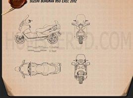 Suzuki Burgman (Skywave) AN650 Executive 2012 Motorcycle clipart