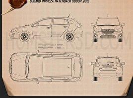 Subaru Impreza hatchback 2012 car clipart