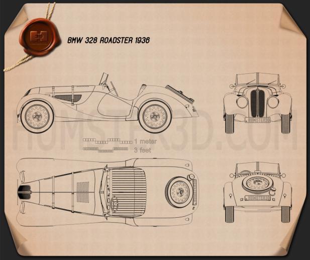 BMW 328 1936 car clipart