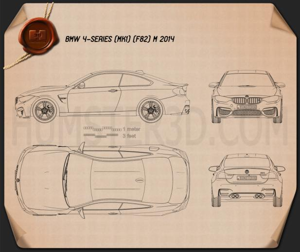 BMW M4 (F82) 2014 Clipart Image