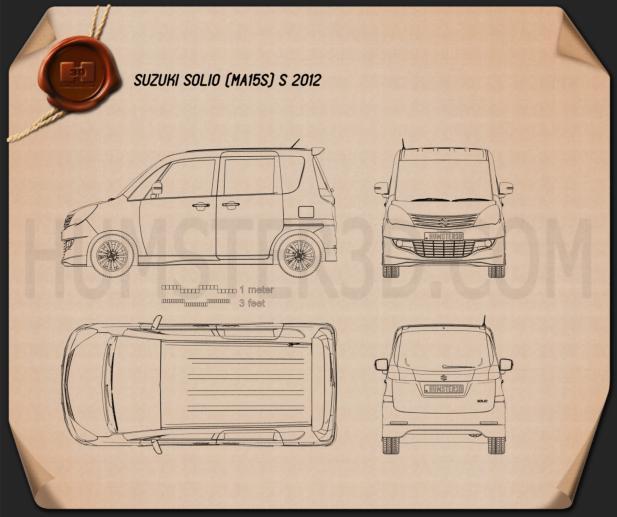 Suzuki Solio S 2012 Clipart Bild