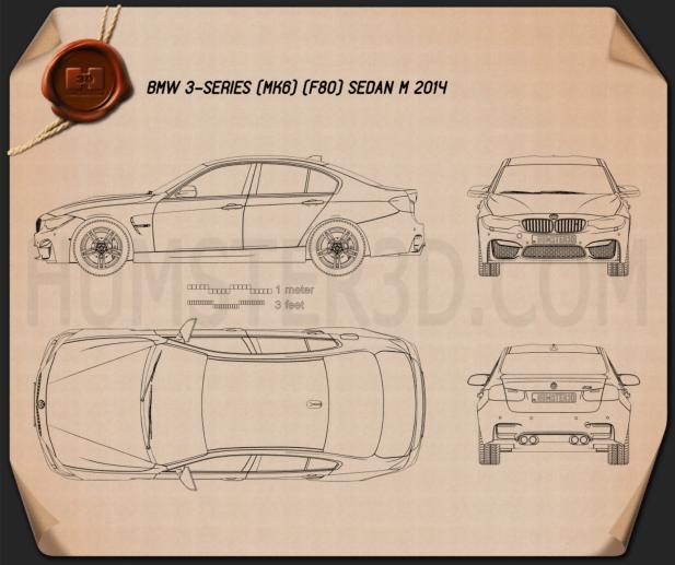 BMW M3 (F80) sedan 2014 Clipart Image