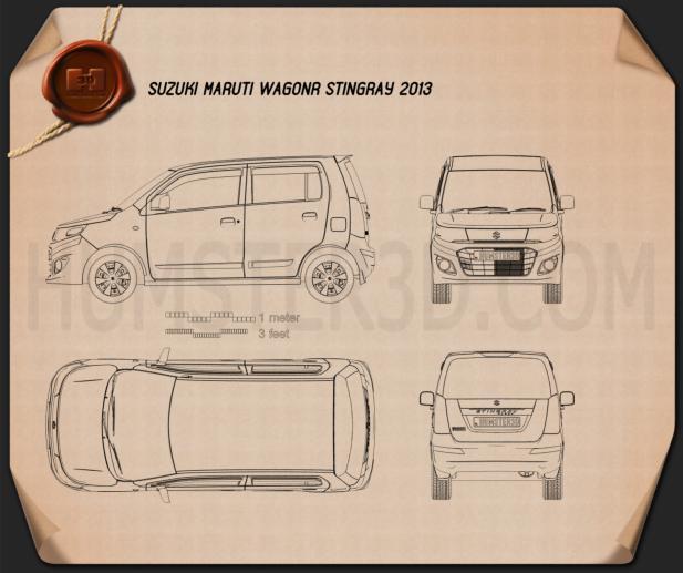 Suzuki (Maruti) WagonR Stingray 2013 clipart
