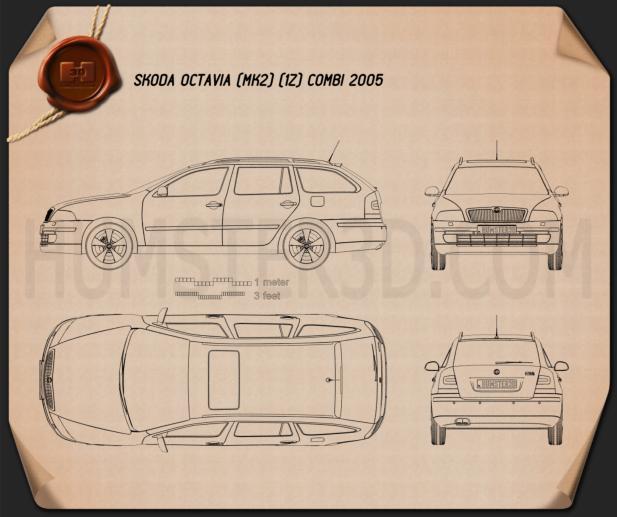 Skoda Octavia combi 2005 car clipart