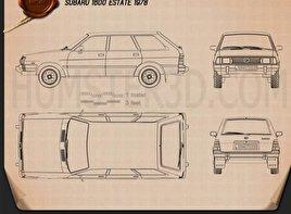 Subaru Leone estate 1978 car clipart