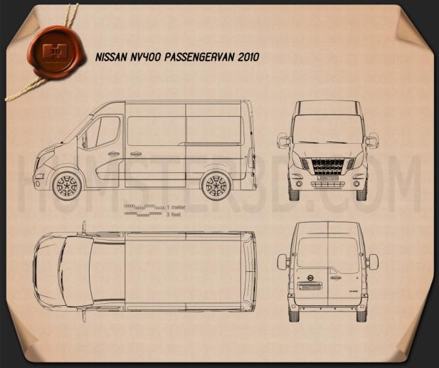 Nissan NV400 Passenger Van 2010 clipart