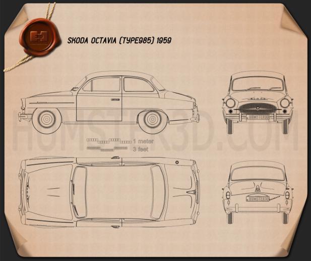 Skoda Octavia 1959 car clipart