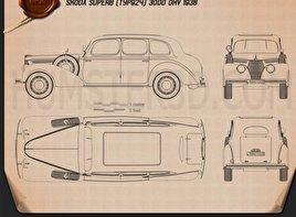 Skoda Superb OHV 1938 Clipart