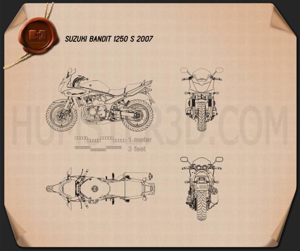 Suzuki Bandit 1250 S 2007 Clipart Image