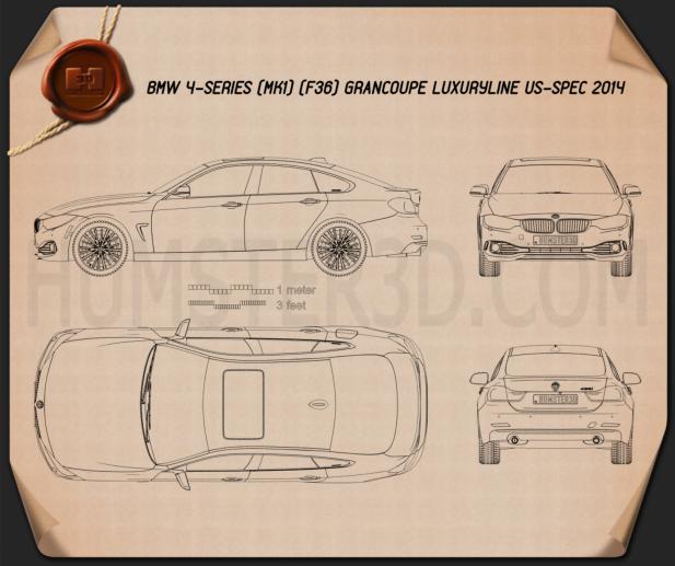 BMW 4 Series (F36) GranCoupe LuxuryLine US-Spez 2014 Clipart Bild