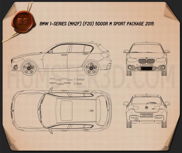 BMW 1 Series (F20) 5-door M Sport Package 2015 car clipart