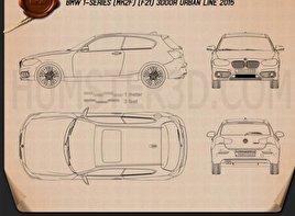 BMW 1 Series (F21) 3-door Urban Line 2015 car clipart